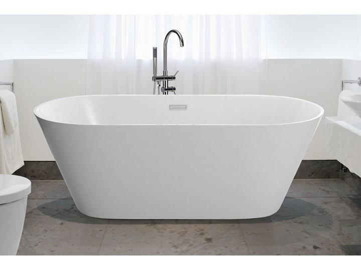 Wanna wolnostojąca biała akrylowa 160 x 80 cm system przelewowy owalna nowoczesna Wolnostojące Kolor Biały