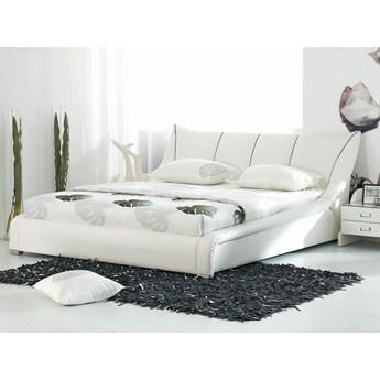 Łóżko białe skórzane 160 x 200 cm stelaż wysoki zagłówek nowoczesne