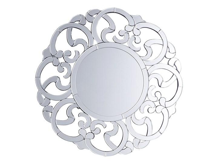 Lustro ścienne wiszące srebrne okrągłe 70 cm ozdobne Kolor Srebrny Lustro bez ramy Kategoria Lustra