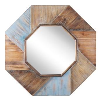 Lustro ścienne ciemne drewno ośmiokątne 77 x 77 cm ręcznie wykonane oprawione dekoracyjne rustykalne