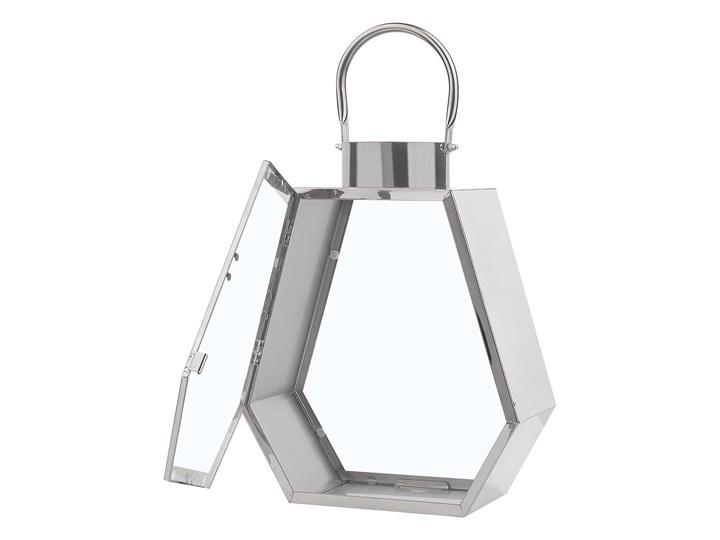 Lampion dekoracyjny srebrny metalowy geometryczny 46 cm ozdobna latarnia na świecę Stal Kategoria Świeczniki i świece