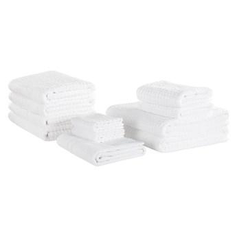 Komplet 11 ręczników biały bawełna zero twist ręcznik dla gości do rąk kąpielowy plażowy i mata łazienkowa