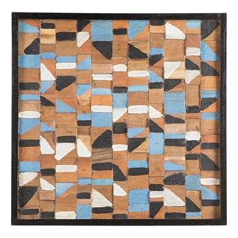 Dekoracja ścienna z drewna tekowego z recyklingu 70 x 70 cm kolorowa kwadratowa styl rustykalny