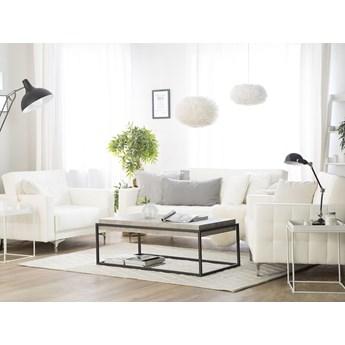 Zestaw wypoczynkowy 3+1+1 biały ekoskóra pikowany nowoczesna 3-osobowa sofa 2 fotele komplet