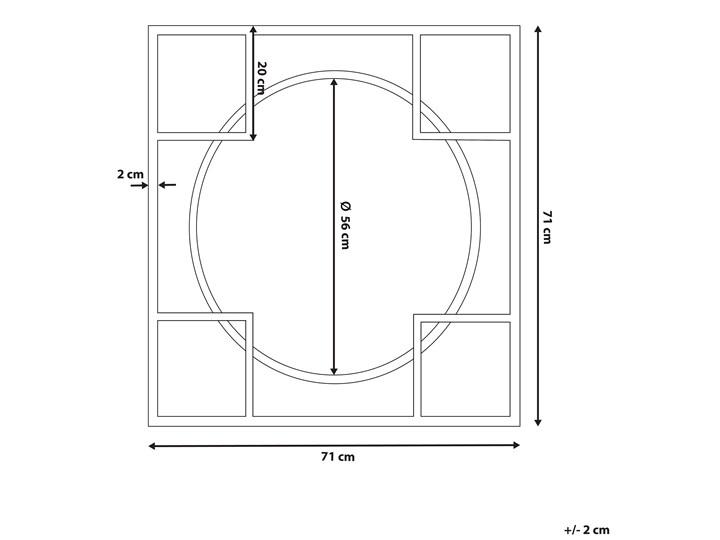 Lustro ścienne wiszące srebrne 71 x 71 cm nowoczesne łazienka salon Okrągłe Lustro z ramą Styl Klasyczny