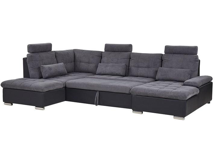 Narożnik rozkładany szary tapicerowany 5-osobowy z pojemnikiem regulowane zagłówki sofa kształt U Strona Uniwersalne W kształcie litery U Kategoria Narożniki