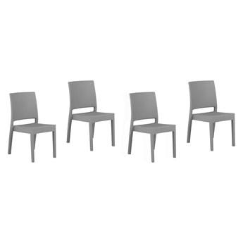 Zestaw 4 krzeseł ogrodowych jasnoszary tworzywo sztuczne sztaplowane na taras do ogrodu