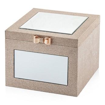 Szkatułka na biżuterię złota z lusterkami 25 x 25 cm ozdobne pudełko
