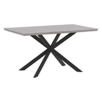 Stół do jadalni obiadowy szary blat drewniany metalowe czarne nóżki prostokątny 140 x 80 cm nowoczesny wygląd efekt betonu