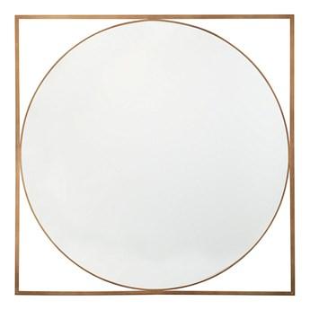Lustro wiszące ścienne złote okrągłe w kwadratowej ramie 81 x 81 cm łazienka salon styl glam