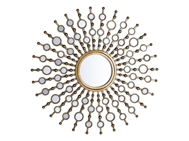 Lustro ścienne wiszące złote okrągłe słońce dekoracyjne Styl Vintage Lustro z ramą Styl Nowoczesny