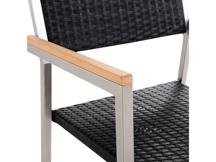 Zestaw mebli ogrodowych jadalniany czarny stół granit/bazalt 180 x 90 cm 6 krzeseł z technorattanu sztaplowanych Stoły z krzesłami Stal Kategoria Zestawy mebli ogrodowych