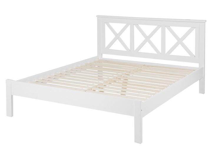 Łóżko drewniane białe rama stelaż 160 x 200 cm Kolor Biały Kategoria Łóżka do sypialni