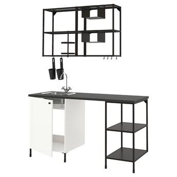 IKEA ENHET Kuchnia, antracyt/biały rama, 163x63.5x222 cm