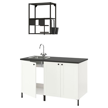 IKEA ENHET Kuchnia, antracyt/biały rama, 143x63.5x222 cm