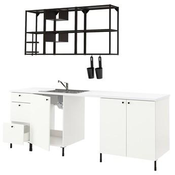 IKEA ENHET Kuchnia, antracyt/biały, 243x63.5x222 cm