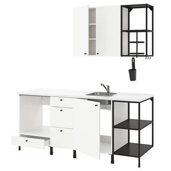 IKEA ENHET Kuchnia, antracyt/biały, 203x63.5x222 cm