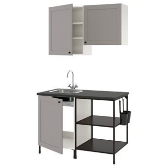 IKEA ENHET Kuchnia, antracyt/szary rama, 123x63.5x222 cm