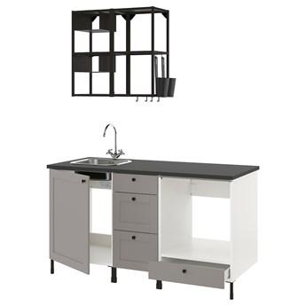 IKEA ENHET Kuchnia, antracyt/szary rama, 163x63.5x222 cm