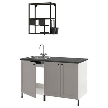 IKEA ENHET Kuchnia, antracyt/szary rama, 143x63.5x222 cm