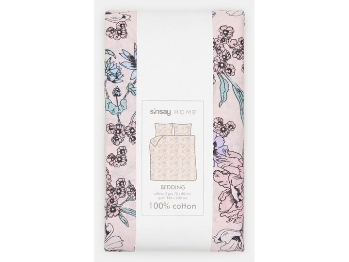 Sinsay - Komplet pościeli z bawełny 160x200 - Różowy 160x200 cm Bawełna Kategoria Komplety pościeli