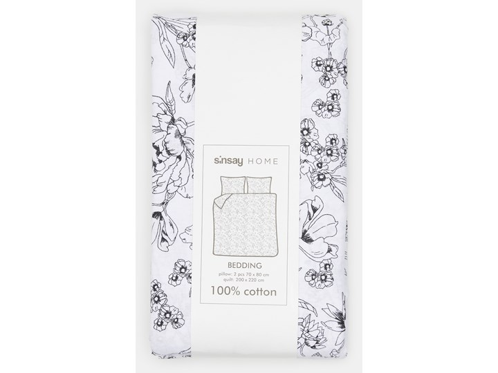 Sinsay - Komplet pościeli z bawełny 200x220 - Biały Bawełna 200x220 cm Kategoria Komplety pościeli