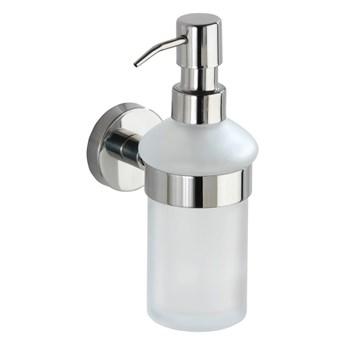 Biały ścienny dozownik do mydła z uchwytem ze stali nierdzewnej Wenko Bosio