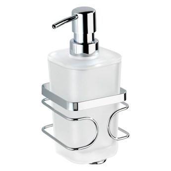 Biały ścienny dozownik do mydła z uchwytem ze stali nierdzewnej Wenko Premium
