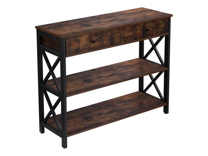 Bettso Elegancka konsola Hanoi z szufladami oraz półkami / Rustic brown Głębokość 34 cm Szerokość 100 cm Drewno Wysokość 80 cm Metal Kolor Brązowy