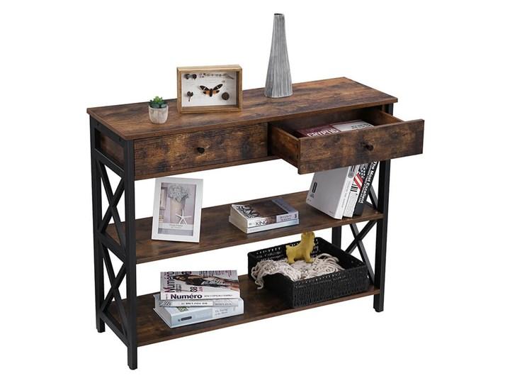 Bettso Elegancka konsola Hanoi z szufladami oraz półkami / Rustic brown Drewno Wysokość 80 cm Metal Szerokość 100 cm Głębokość 34 cm Styl Nowoczesny