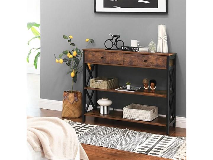 Bettso Elegancka konsola Hanoi z szufladami oraz półkami / Rustic brown Szerokość 100 cm Kolor Brązowy Metal Wysokość 80 cm Głębokość 34 cm Drewno Styl Nowoczesny