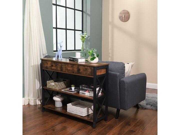 Bettso Elegancka konsola Hanoi z szufladami oraz półkami / Rustic brown Wysokość 80 cm Szerokość 100 cm Drewno Styl Nowoczesny Metal Głębokość 34 cm Kolor Brązowy