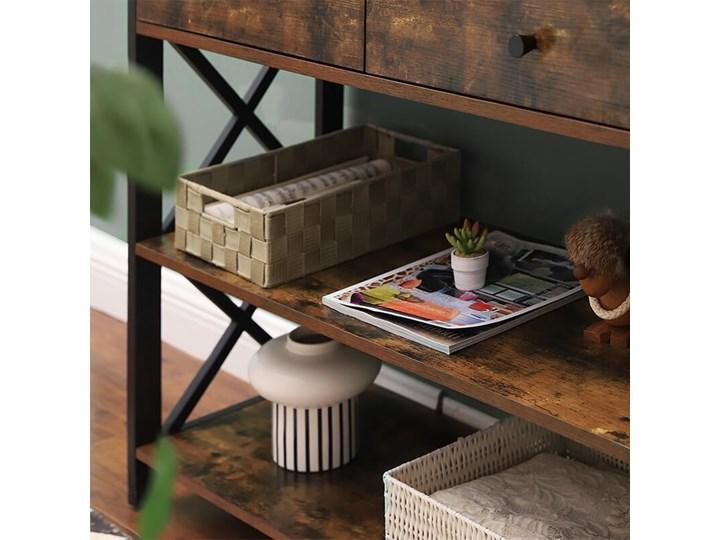 Bettso Elegancka konsola Hanoi z szufladami oraz półkami / Rustic brown Głębokość 34 cm Drewno Metal Szerokość 100 cm Wysokość 80 cm Kolor Brązowy Styl Nowoczesny