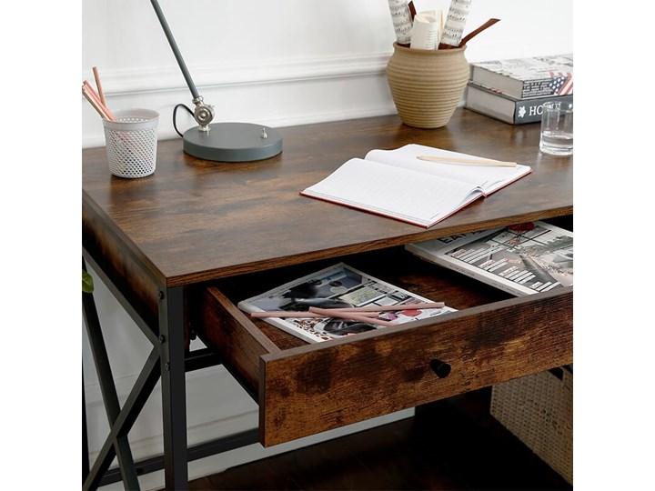 Bettso Industrialne biurko Hanoi z półkami i szufladą / Rustic brown Szerokość 115 cm Głębokość 60 cm Drewno Metal Głębokość 115 cm Kolor Brązowy