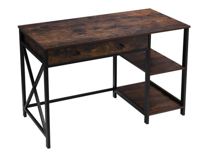 Bettso Industrialne biurko Hanoi z półkami i szufladą / Rustic brown Kolor Brązowy Metal Głębokość 115 cm Szerokość 115 cm Drewno Głębokość 60 cm Styl Industrialny