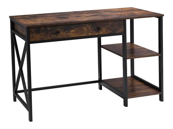 Bettso Industrialne biurko Hanoi z półkami i szufladą / Rustic brown Szerokość 115 cm Metal Głębokość 115 cm Drewno Głębokość 60 cm Kolor Brązowy