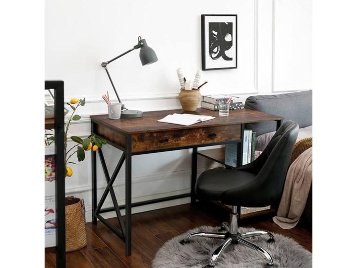 Bettso Industrialne biurko Hanoi z półkami i szufladą / Rustic brown Szerokość 115 cm Metal Drewno Głębokość 115 cm Głębokość 60 cm Styl Nowoczesny