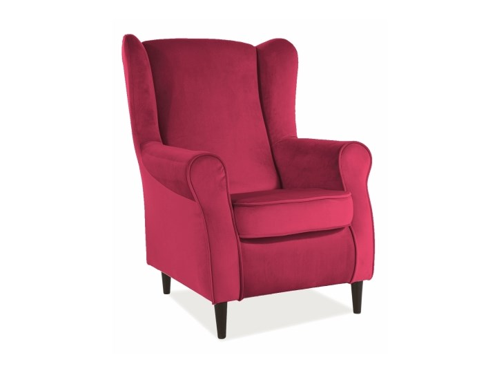 Fotel Uszak Baron Velvet - 9 kolorów antyczny róż Drewno Szerokość 75 cm Tkanina Wysokość 53 cm Plusz Głębokość 53 cm Fotel pikowany Tworzywo sztuczne Wysokość 101 cm Styl Klasyczny