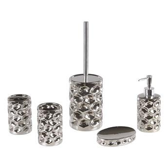 Zestaw akcesoriów łazienkowych srebrny ceramiczny glamour dozownik mydła szczotka do toalety