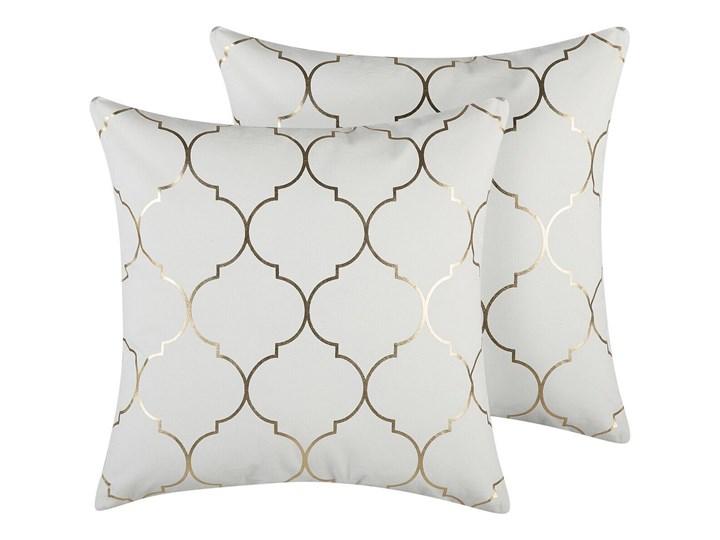 Zestaw 2 poduszek dekoracyjnych biały marokańska koniczyna 45 x 45 cm z wypełnieniem akcesoria salon sypialnia Kwadratowe 45x45 cm Poliester Wzór Marokański