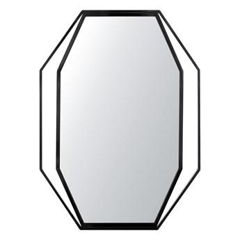 Lustro ścienne wiszące ośmiokątne szare metalowe 80 x 60 cm styl nowoczesny minimalistyczny