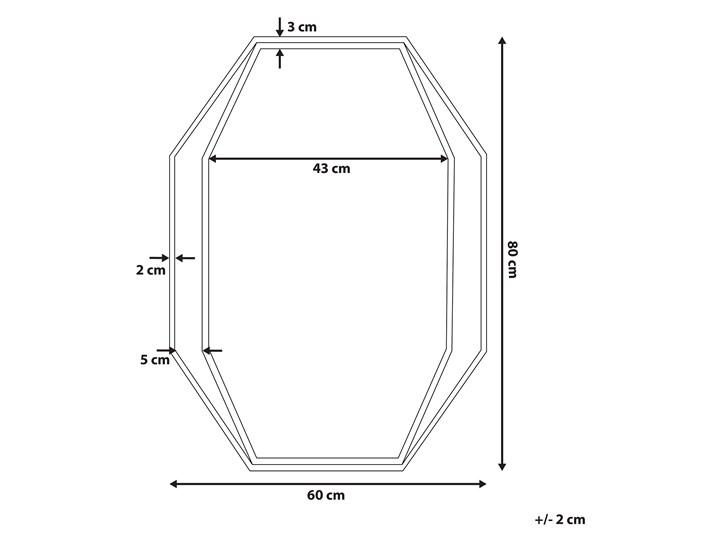 Lustro ścienne wiszące ośmiokątne szare metalowe 80 x 60 cm styl nowoczesny minimalistyczny Styl Industrialny Pomieszczenie Salon