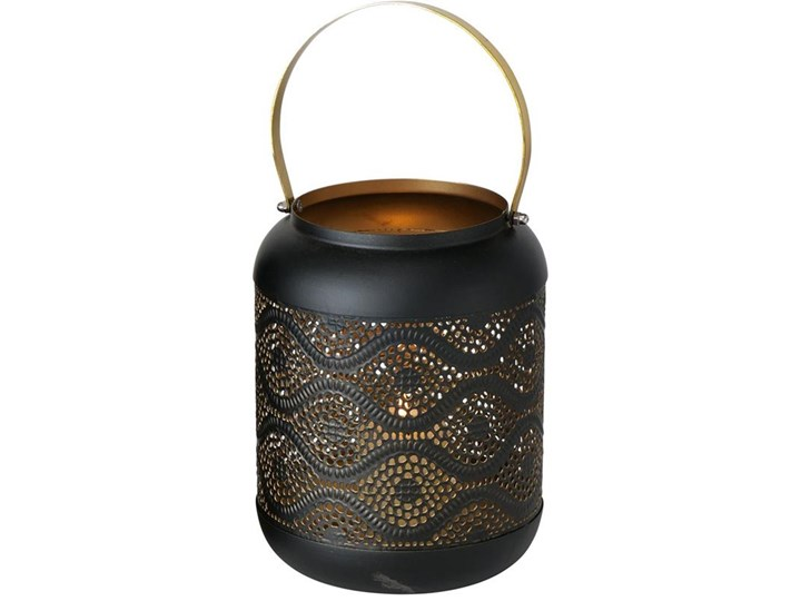 Metalowy lampion Vernje Black Waves Kolor Czarny Kategoria Świeczniki i świece