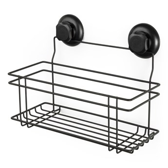 Czarna samoprzylepna półka pod prysznic Compactor Bestlock Black All Purpose Holder, 30x20,5 cm