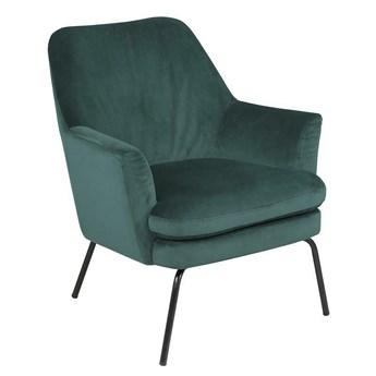 Welwetowy fotel butelkowozielony - Amili