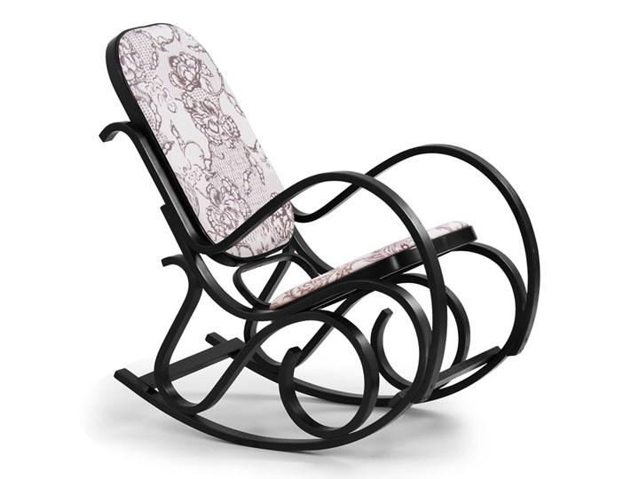 Drewniany fotel bujany w kolorze Wenge - Dixel Drewno Wysokość 95 cm Kolor Szary Głębokość 90 cm Kategoria Fotele do salonu