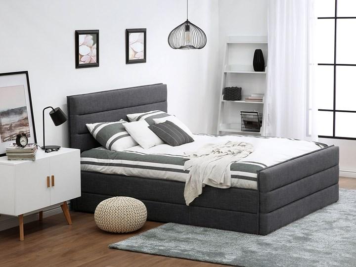 Łóżko ciemnoszare tapicerowane 180 x 200 cm ze stelażem wezgłowiem i zanóżkiem Łóżko tapicerowane Kolor Czarny