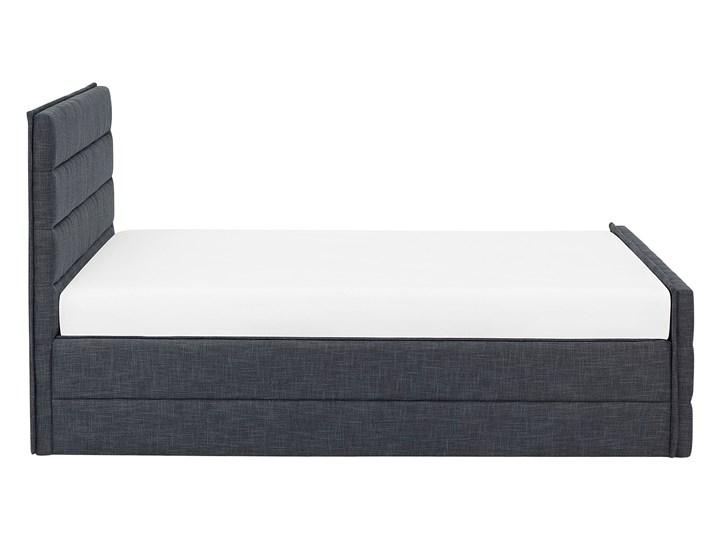 Łóżko ciemnoszare tapicerowane 180 x 200 cm ze stelażem wezgłowiem i zanóżkiem Łóżko tapicerowane Kategoria Łóżka do sypialni Kolor Czarny