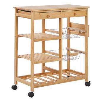 Wózek do kuchni jasne drewno bambus uchwyt na wino na kólkach do jadalni rustykalny nowoczesny