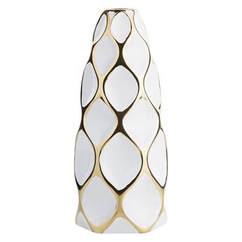 Wazon na kwiaty biało-złoty ceramiczny 36 cm geometryczny styl skandynawski
